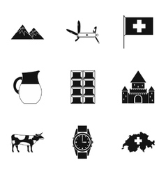 Country switzerland icons set simple style vector