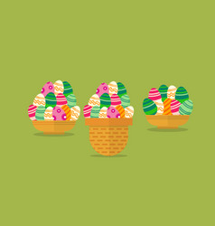 Easter egg in the basket flat vector