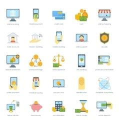 Finance safe card banking icons set credit cash vector