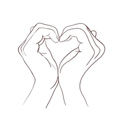 Hands making sign heart vector image