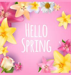 Hello spring banner greetings design backgroun vector