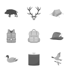 Hunting set icons in monochrome style big vector
