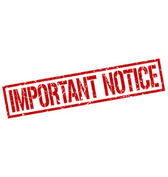 important notice stamp vector image