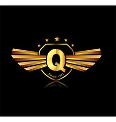 Letter q winged crests logo alphabet logotype vector