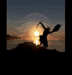 Painted silhouette of a dancing shaman vector