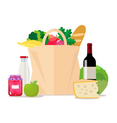 paper bag with food shopping at the supermarket vector image