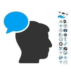 Person idea icon with air drone tools bonus vector