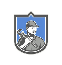 Plumber holding wrench woodcut shield vector