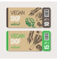 Promotional coupon for sale in organic shop vector image vector image