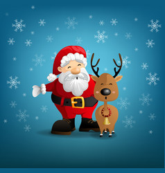 santa claus and reindeer on a snow background vector image