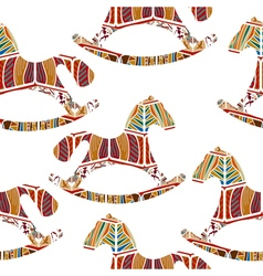 Seamless pattern with rocking horses vector