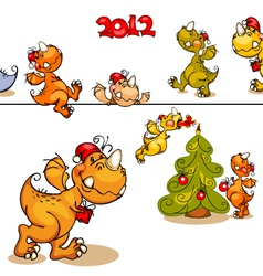 Set dragons and christmas tree vector