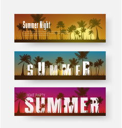 Set of horizontal banners with a summer sunset of vector