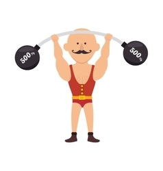 Strong man cartoon circus vector