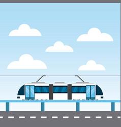 Tram service public icon vector