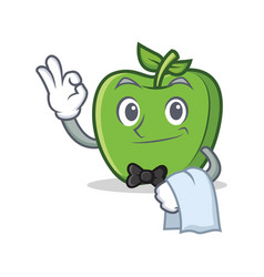 Waiter green apple character cartoon vector