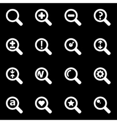 white magnifying glass icon set vector image