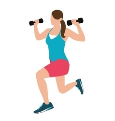 Woman fitness position holding barbells with her vector