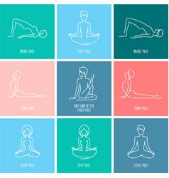 Yoga icon linear set vector