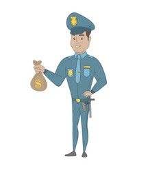 Young hispanic policeman holding a money bag vector