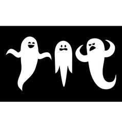 Scary white ghosts on black background vector