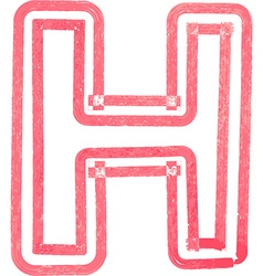 Capital letter h drawing with red marker vector