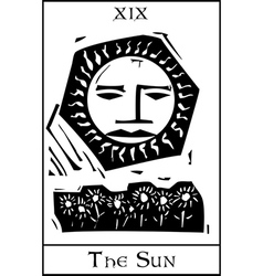 Sun tarot card vector