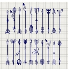 Ball pen arrows on notebook page vector