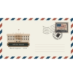 Envelope with postage stamp with white house vector
