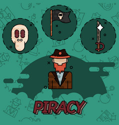 piracy flat concept icons vector image