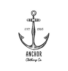 Anchor engraved vintage in old hand drawn or vector
