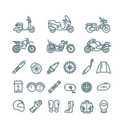 Motorcycle auto parts and motorbike accessories vector