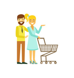 Happy young couple with shopping cart family vector