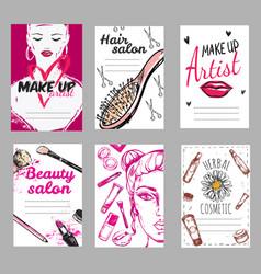 Make up shop poster set vector