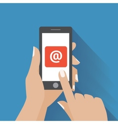 Hand touching smart phone with email symbol on the vector