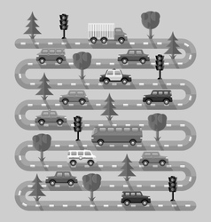 Highway with vehicles vector