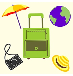 Travel set of bag umbrella camera globe and cap vector