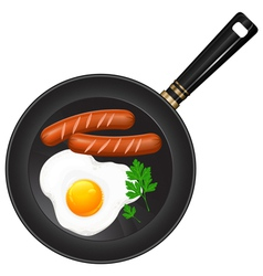 breakfast egge pan sausage parsley vector image