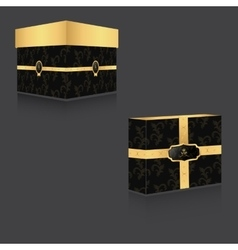 Vip box with gold lid and vintage backgroundtwo vector
