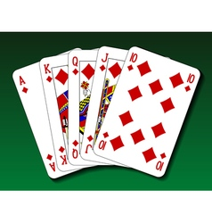 Poker hand - royal flush diamond vector