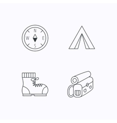 Backpack camping tent and compass icons vector