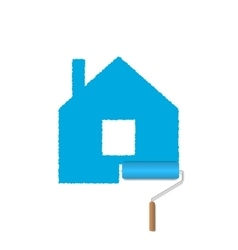 Blue home emblem vector image