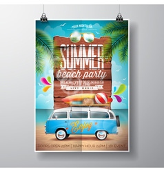 Summer Beach Party Flyer Design with travel van vector image
