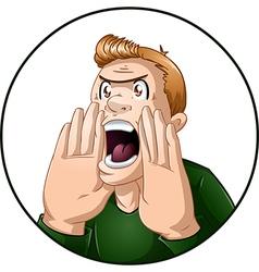 Angry Man Shouts vector image vector image
