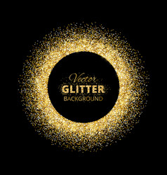 black and gold background with glitter frame vector image