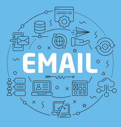 Blue line flat circle email vector