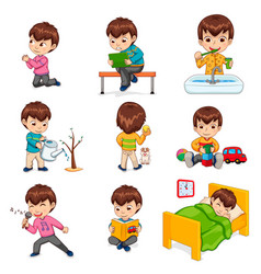 Boy does daily routine actions set vector