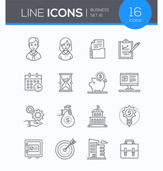 Business - set of line design style icons vector
