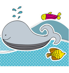 Color aquatic animals in the sea icon vector