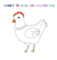 Connect the dots game chicken hen vector
